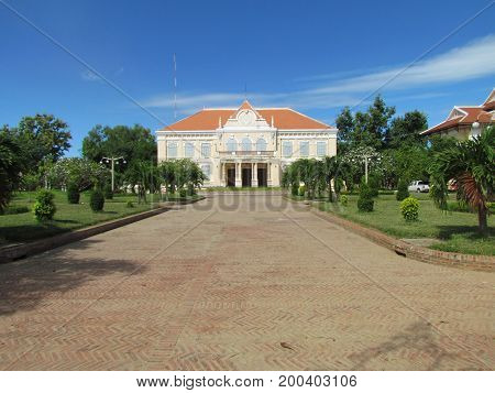 Fench Colonial architecture governor mansion in Battambang Cambodia