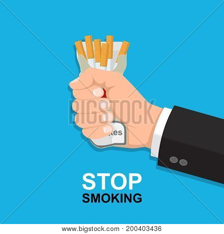 The hand of the man rumples a pack with cigarettes.Concept of a healthy lifestyle.No to smoking.Vector illustration in flat style.