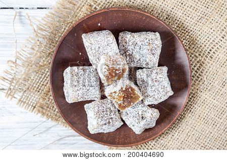 Rakhat-lukum Sprinkled With Coconut Shavings.