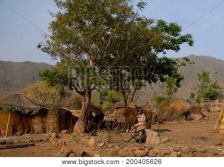 Village of Koma tribe people - 28-02-2014 Alantika mountain. Cameroon