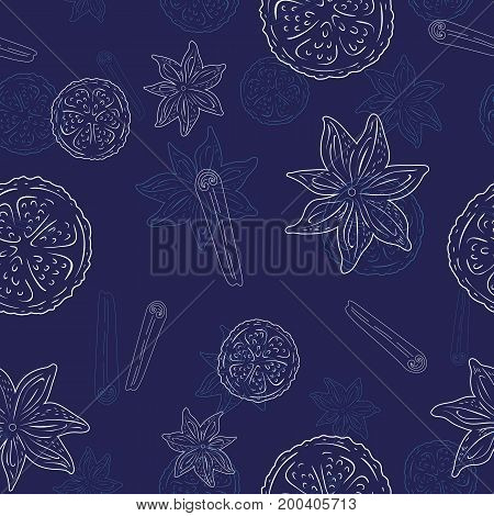 Seamless pattern with Cinnamon and lemon - light line art on a blue background, hand drawn vector stock illustration