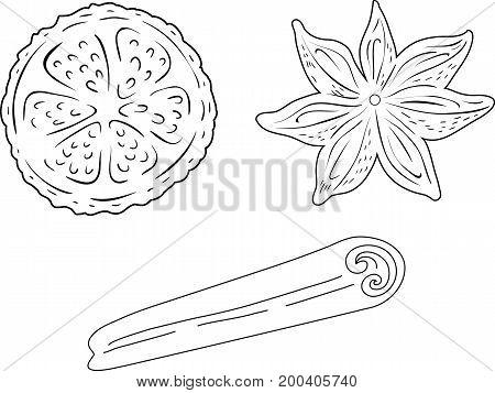 Cinnamon and lemon - black line art on a white bckground, hand drawn vector stock illustration