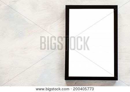Blank photo frame on white background. Menu, recipes, greetings and memories concept, picture with copy space
