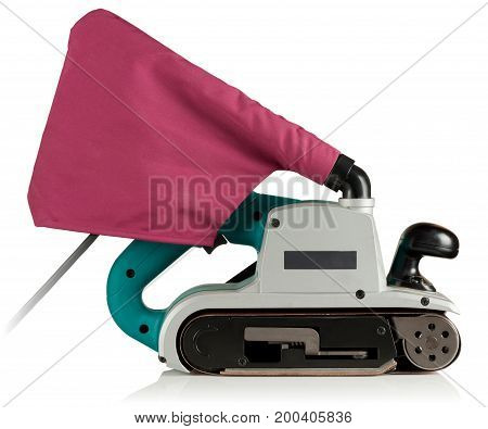 professional belt sander on white background with reflection