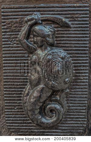The Mermaid of Warsaw, Polish Syrenka Warzawska, a symbol of Warsaw