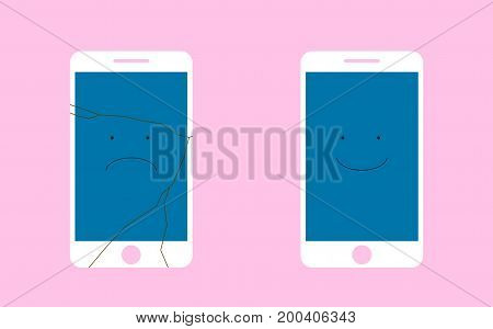 A broken phone with a sad smile, and the whole phone is smiling. Flat vector illustration