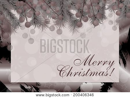 Merry Christmas background with berries. Vector illustration.