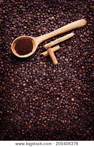 coffee background with spoon - food and drink