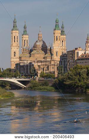 Zaragoza Basilica August 1 2017 in Zaragoza Spain