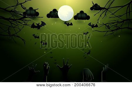 Zombie hands and old trees on full Moon background. Happy Halloween design illustration. Paper art and craft style