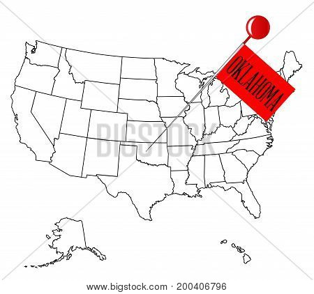 An outline map of USA with a knob pin in the state of Oklahoma