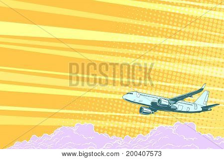 Aviation aircraft flying above the clouds, vector background. Airplane aviation travel voyage tourism air transport. Pop art retro vector illustration