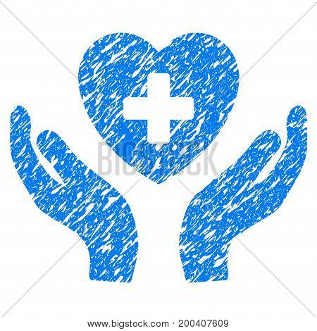 Grunge Cardiology Care Hands icon with grunge design and dust texture. Unclean vector blue pictogram for rubber seal stamp imitations and watermarks. Draft sticker symbol.