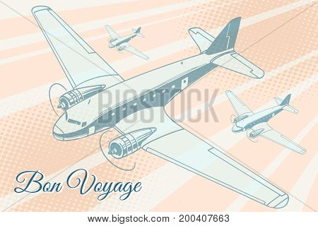 Bon voyage aviation background. Airplane aviation travel voyage tourism air transport. Pop art retro vector illustration