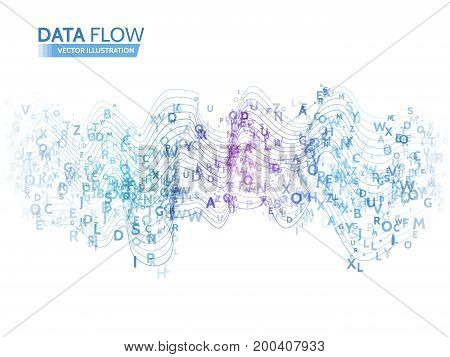 Dynamic waves technology concept. Abstract data flow background with letters code. Stream information.