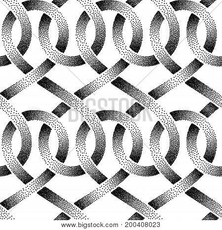 Seamless pattern of stippled ribbons. Vector illustration