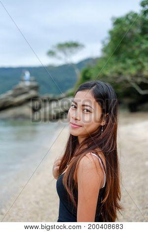 Natural portrait Beautiful Asian girl smiling. Native Asian beauty. Asian woman