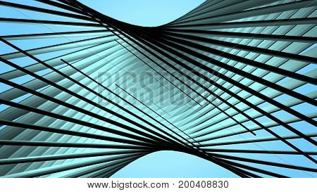 Abstract blue geometric background with twisted lines.