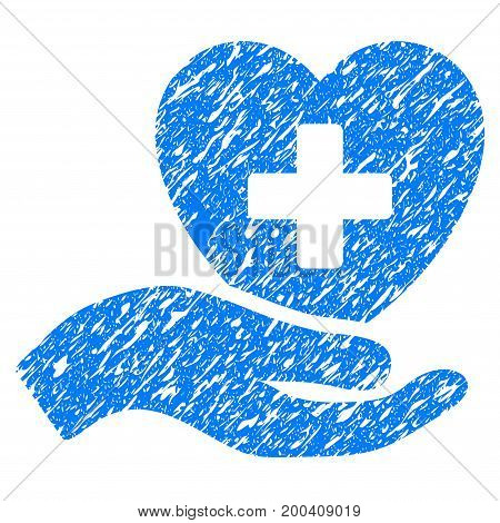 Grunge Hand Offer Cardiology icon with grunge design and dust texture. Unclean vector blue pictogram for rubber seal stamp imitations and watermarks. Draft emblem symbol.