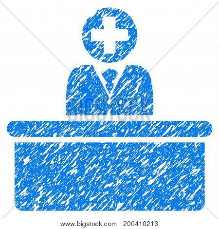 Grunge Medical Bureaucrat icon with grunge design and unclean texture. Unclean vector blue pictogram for rubber seal stamp imitations and watermarks. Draft sign symbol.