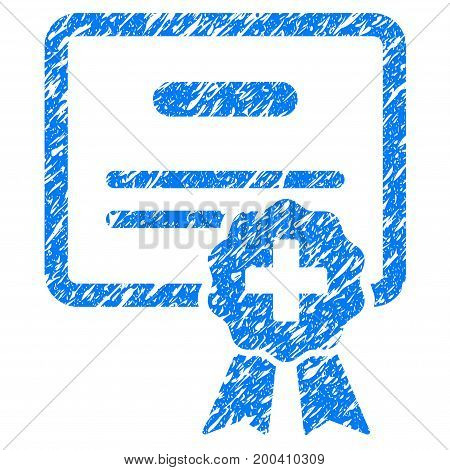 Grunge Medical Certification icon with grunge design and unclean texture. Unclean vector blue pictogram for rubber seal stamp imitations and watermarks. Draft emblem symbol.