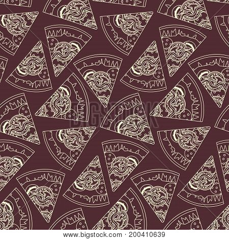 Outline sliced italian pizza on bardic background seamless pattern. Nice fast food texture for textile wallpaper background cover wrapping paper banner bar and cafe menu design