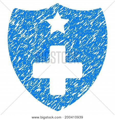 Grunge Medical Insurance Shield icon with grunge design and dirty texture. Unclean vector blue pictogram for rubber seal stamp imitations and watermarks. Draft emblem symbol.