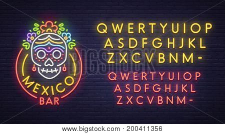 Mexico bar neon sign, bright signboard, light banner. Logo, emblem. Neon sign creator. Neon text edit