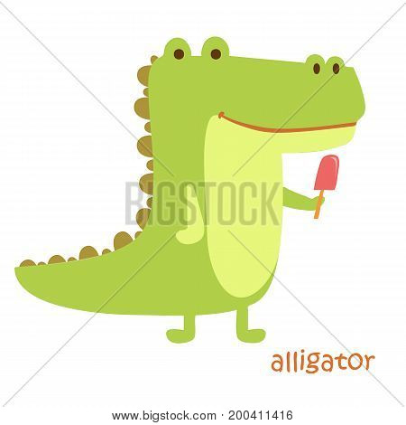 Alligator isolated. Drawing crocodile for a child
