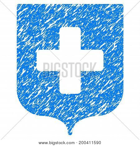 Grunge Medical Shield icon with grunge design and dust texture. Unclean vector blue pictogram for rubber seal stamp imitations and watermarks. Draft emblem symbol.