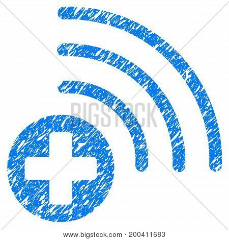 Grunge Medical Source icon with grunge design and unclean texture. Unclean vector blue pictogram for rubber seal stamp imitations and watermarks. Draft sticker symbol.