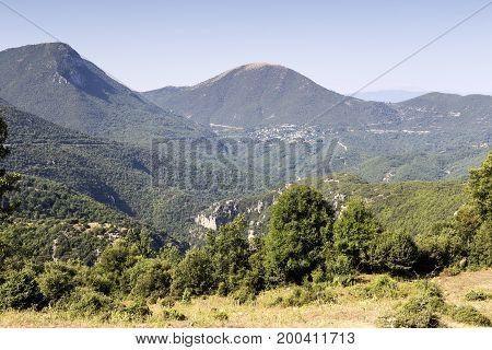 View of the mountainous terrain in the morning (Epirus region, Greece).