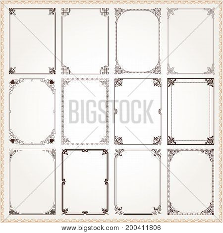 Decorative vintage frames borders backgrounds rectangle proportions set 6 vector