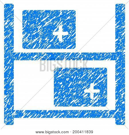 Grunge Medical Warehouse icon with grunge design and scratched texture. Unclean vector blue pictogram for rubber seal stamp imitations and watermarks. Draft sticker symbol.
