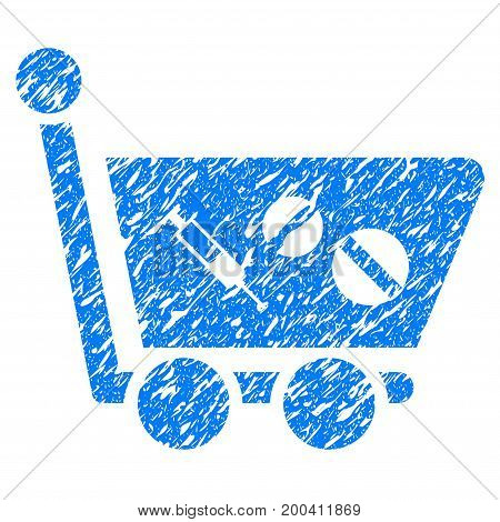 Grunge Medication Shopping Cart icon with grunge design and dust texture. Unclean vector blue pictogram for rubber seal stamp imitations and watermarks. Draft emblem symbol.