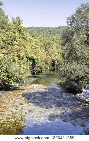 View of the mountain river in the morning ( river Voidomatis, Epirus region, Greece)