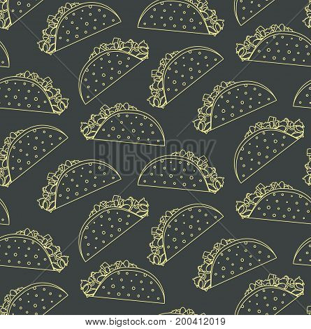 Seamless pattern with mexican fast food outline taco on black background. Nice spanish fastfood texture for textile wallpaper cover banner bar and cafe menu design