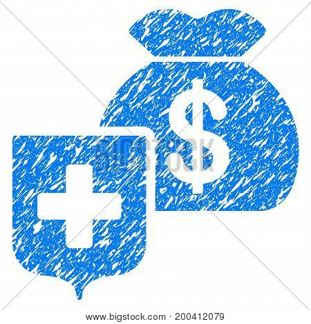 Grunge Money Bag Shield icon with grunge design and unclean texture. Unclean vector blue pictogram for rubber seal stamp imitations and watermarks. Draft sticker symbol.
