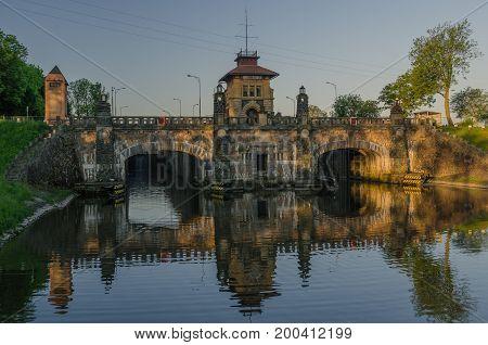 Historical sluice on Vlatava river, Horin, Czech Republic
