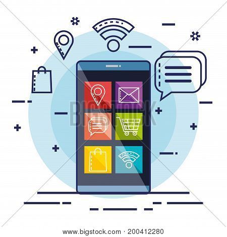 mobile message commerce electronic technology vector illustration