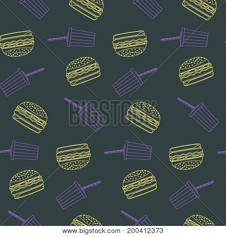 Cute outline yellow hamburgers and violet plastic cola caps seamless pattern on dark background. Nice american fast food pattern for textile cafe menu wrapping paper covers banners wallpaper