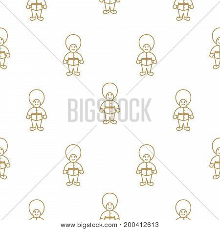 British royal guardsman seamless vector pattern. Gold line on white thin design background texture.