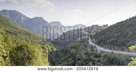 The road in the mountains in the countryside ( Epirus region, Greece)