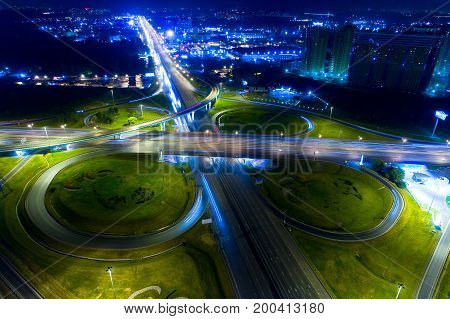 Aerial photography. Road junction on the Moscow border: the Moscow Ring Road and the Entuziastov highway.