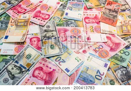 World's Major Currencies As Money Background.
