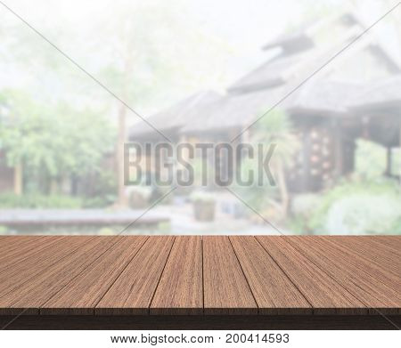 Table Top And Blur Exterior Of The Background