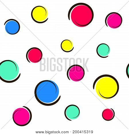 Pop art colorful confetti background. Big colored spots and circles on white background with ink curves. Vector illustration.