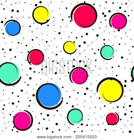Pop art colorful confetti background. Big colored spots and circles on white background with black dots and ink lines. Vector illustration.