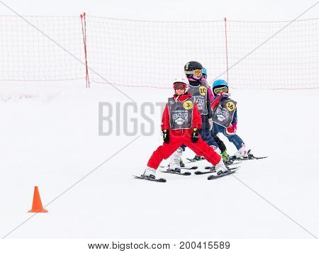 Sochi - March 28 2017: Children in mountain skiing learn to ski and snow in the mountains March 28 2017 Sochi Russia