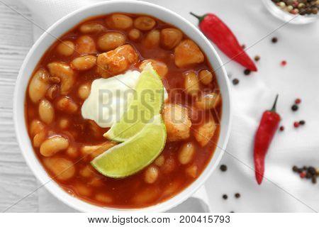 Delicious turkey chili in bowl, closeup